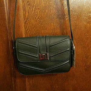 I.N.C BLACK CROSSBODY HANDBAG; strap drop 28 1/4